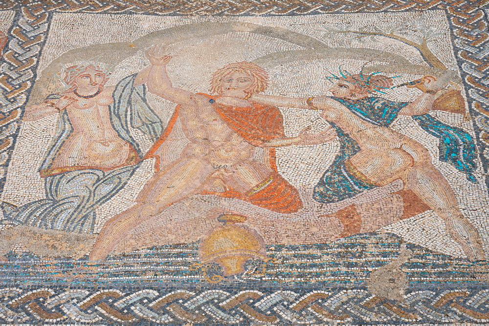 Mosaic of the abduction of Hylas by the nymphs from the Roman ruins, Volubilis, UNESCO World Heritage Site, near Meknes, Morocco, North Africa, Africa