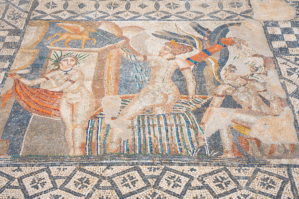 Mosaic of Diana and the bathing Nymphs from the Roman ruins, Volubilis, UNESCO World Heritage Site, near Meknes, Morocco, North Africa, Africa - 450-4390
