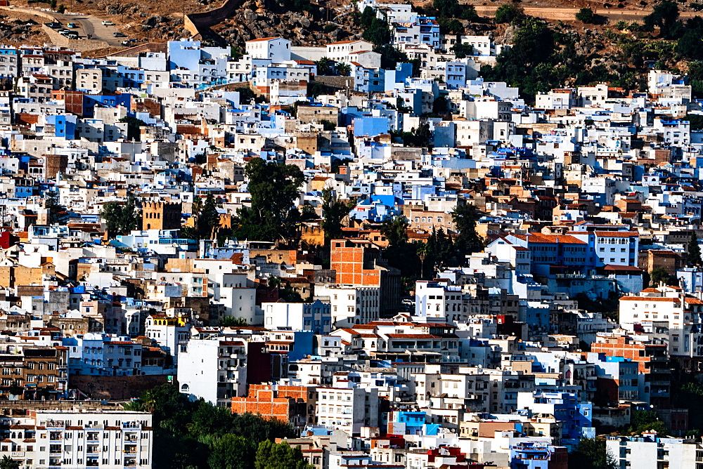 Close-up aerial cityscape of Chefchaouen, known as the Blue City, set in the Rif Mountains, Morocco, North Africa, Africa - 450-4396