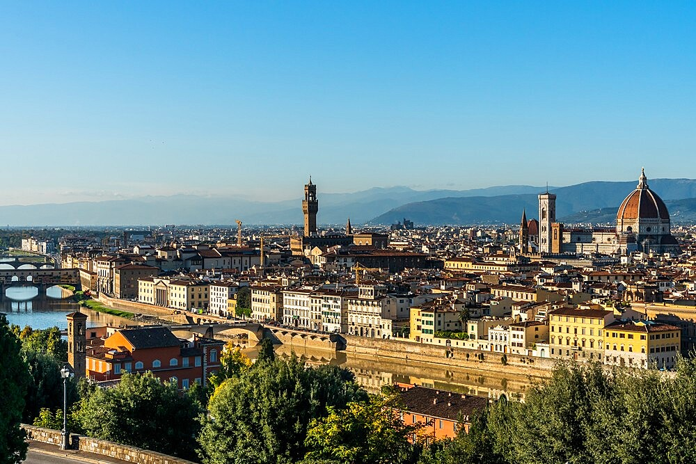 Aerial view in afternoon sun of Florence from Piazzale Michelangelo, Tuscany, Italy - 450-4456