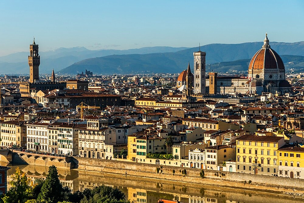 Aerial view in afternoon sun of Florence from Piazzale Michelangelo, Tuscany, Italy - 450-4458