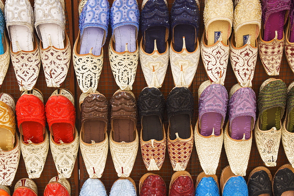 Curly toed slippers for sale in Bur Dubai Souk, Dubai, United Arab Emirates, Middle East - 462-1461