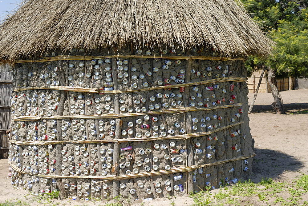 Recycling of aluminium cans as used in traditional house, Botswana, Africa - 483-1341