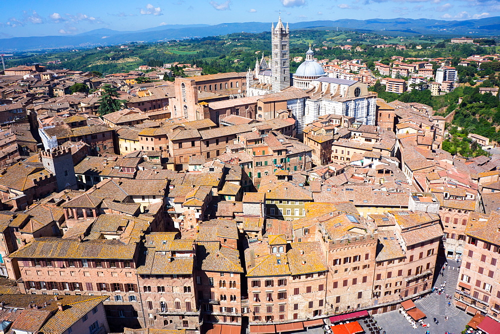 View from Torre del Mangia of Piazza del Campo and city skyline, UNESCO World Heritage Site, Siena, Tuscany, Italy, Europe