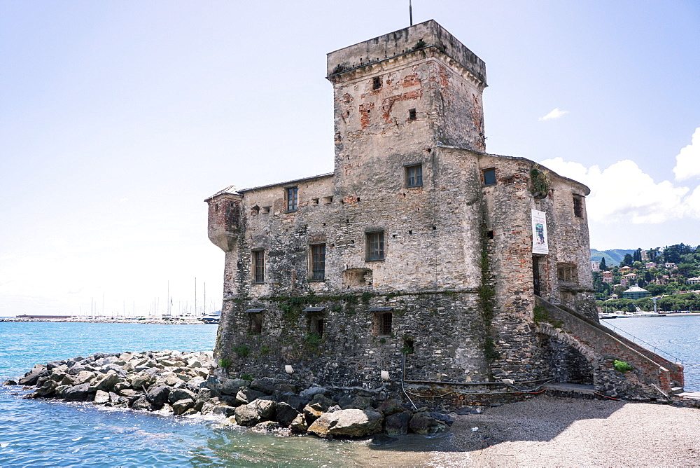 Castle overlooking the bay, Rapallo, Liguria, Italy, Europe