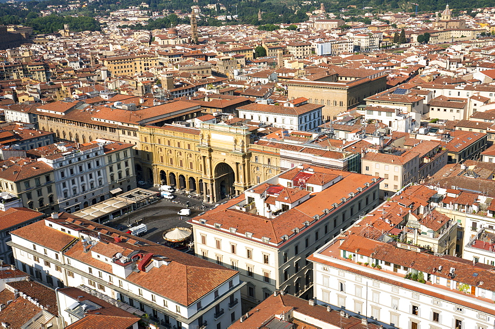 Aerial view from Giotto belltower of Piazza della Reppublica, Florence, Tuscany, Italy, Europe