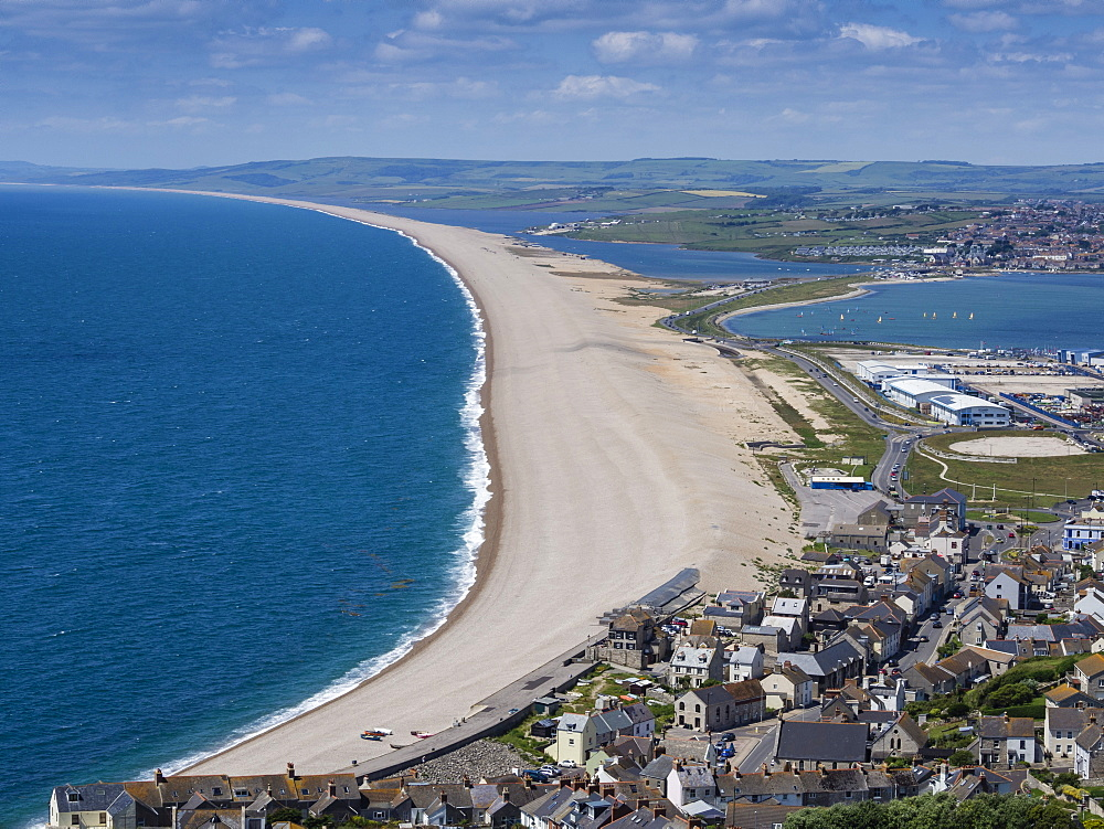 Chesil Beach and the Fleet Lagoon from Portland, Jurassic Coast, UNESCO World Heritage Site, Weymouth, Dorset, England, United Kingdom, Europe