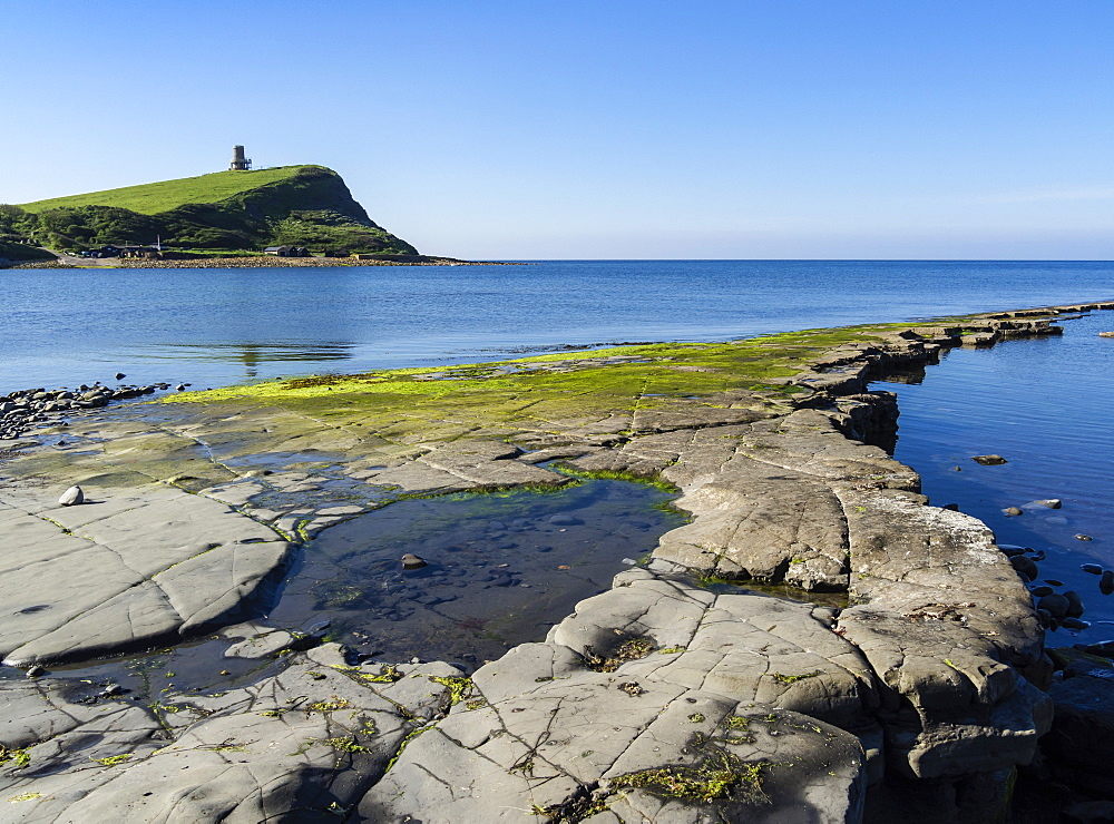 Rock Ledges and Clavell Tower in Kimmeridge Bay, Isle of Purbeck, Jurassic Coast, UNESCO World Heritage Site, Dorset, England, United Kingdom, Europe - 485-9691
