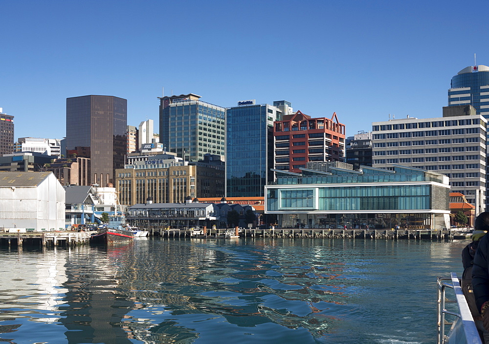 Waterfront and Queens Wharf from the harbour, Wellington, North Island, New Zealand, Pacific - 489-1733