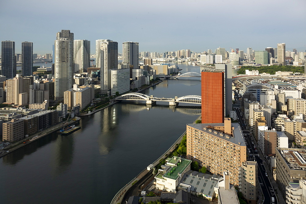 View over Sumida River with Kachidoki and Tsukiji-ohashi Bridges, Tokyo, Japan, Asia - 489-1787