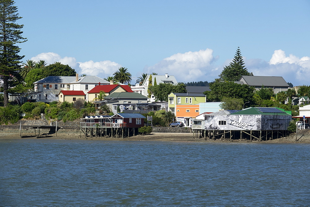 Rawene town from the ferry on the Hokianga, Northland, North Island, New Zealand, Pacific - 489-1799
