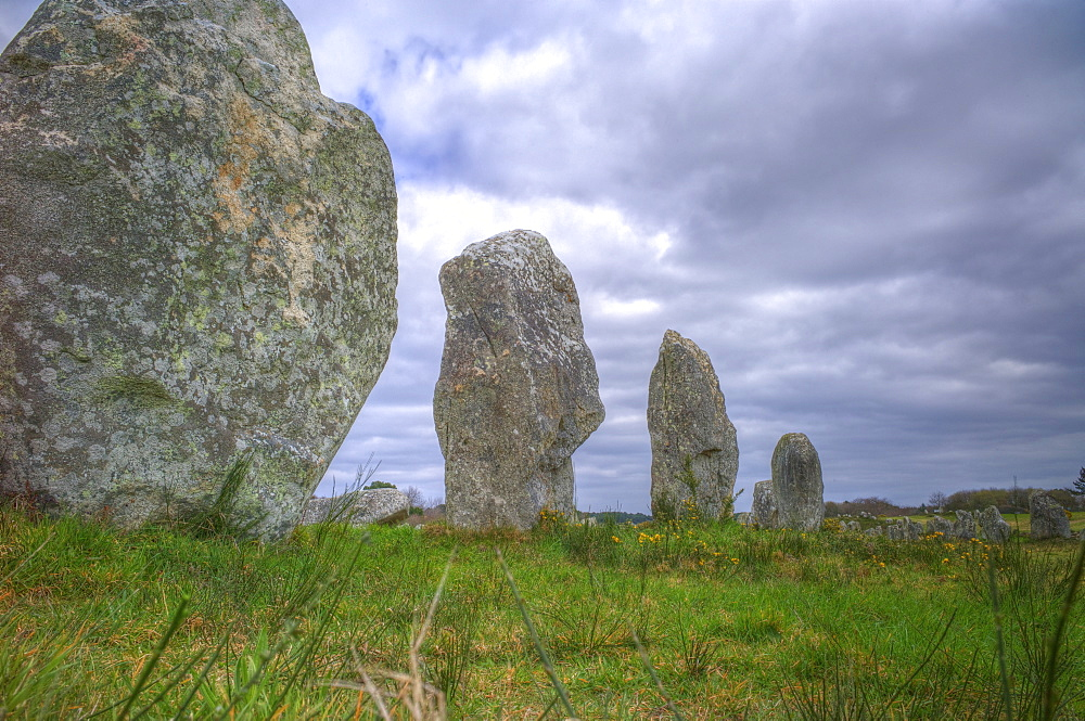 Megalithic stones in the Menec Alignment at Carnac, Brittany, France, Europe
