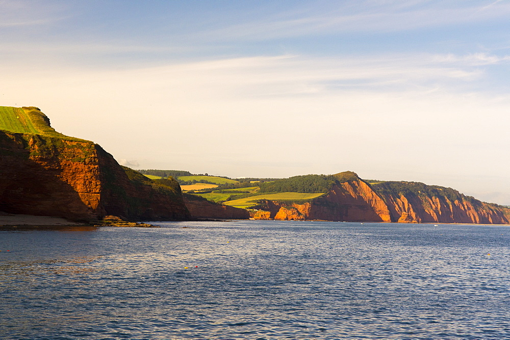 Sandstone cliffs of the Jurassic Coast, UNESCO World Heritage Site, Ladram Bay, Devon, England, United Kingdom, Europe - 492-3613