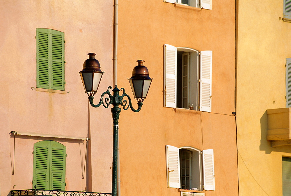 Street lamp and windows, St. Tropez, Cote d'Azur, Provence, France, Europe