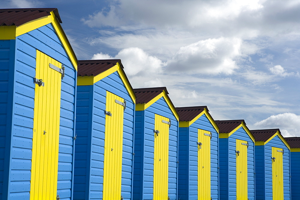 Colourful beach huts, Littlehampton, West Sussex, England, United Kingdom, Europe - 526-3651