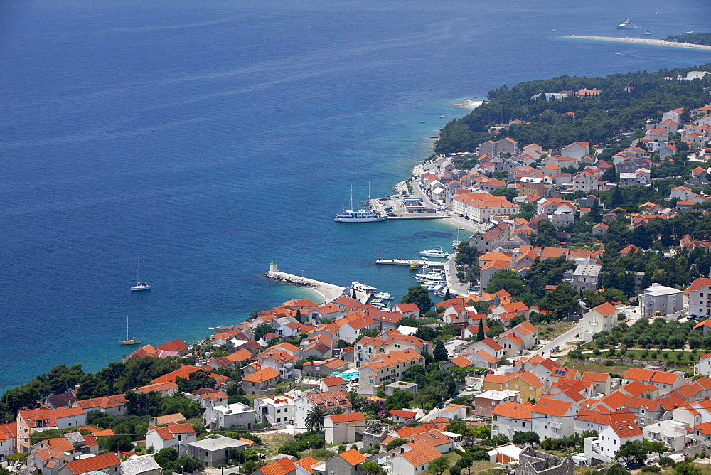 High view of Bol and harbour, Brac Island, Dalmatian Coast, Croatia, Europe  - 526-3763