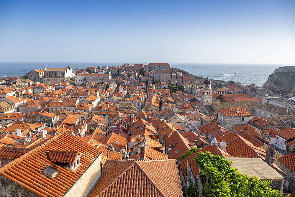 View across rooftops from the city wall of Dubrovnik, UNESCO World Heritage Site, Croatia, Europe  - 526-3769