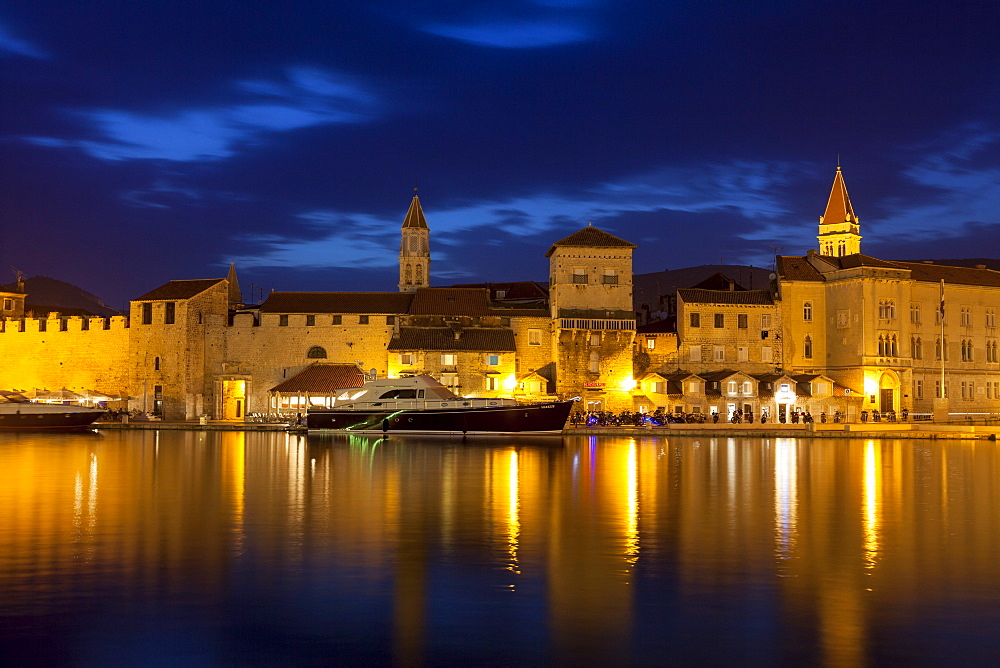View of city across river, lit up at dusk, Trogir, UNESCO World Heritage Site, Dalmatian Coast, Croatia, Europe  - 526-3787