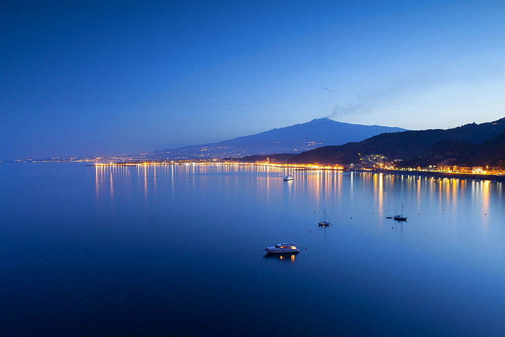 Mount Etna and Giardini Naxos at dusk, Sicily, Italy, Mediterranean, Europe - 526-3809