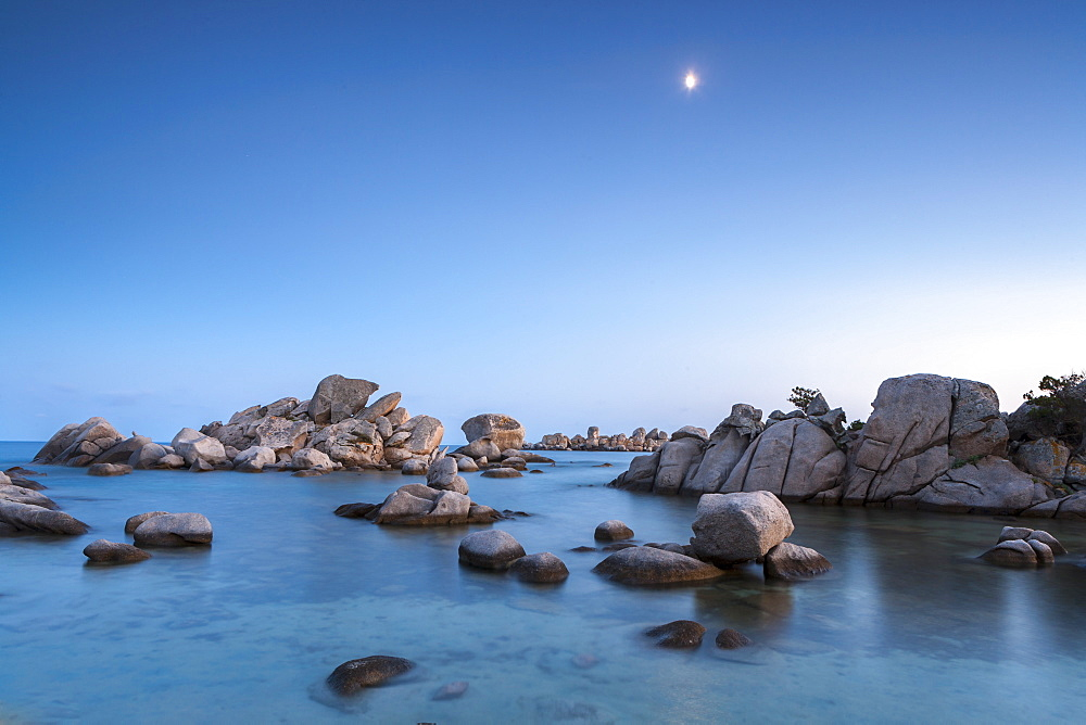 Rocks and moon, Palombaggia beach, Corsica, France, Mediterranean, Europe