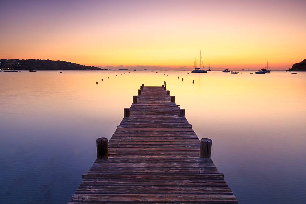 Wooden jetty at dawn, sunrise, long exposure, Corsica, France, Mediterranean, Europe