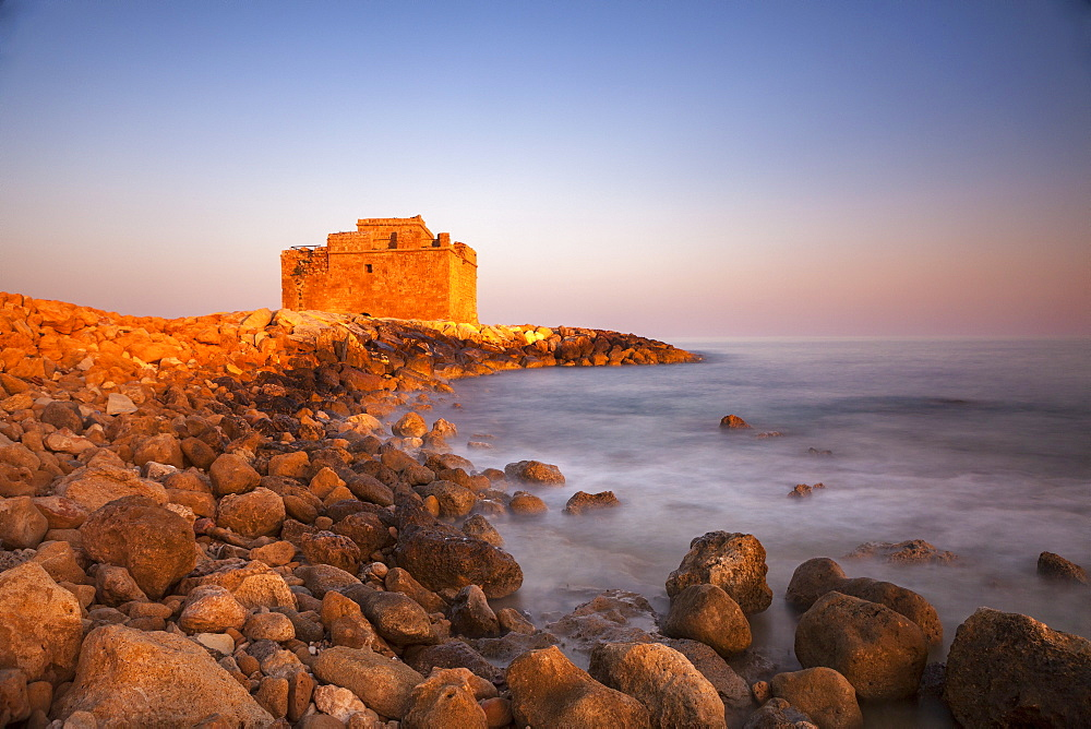 Paphos castle with rocky shoreline, Paphos harbour - 526-3840