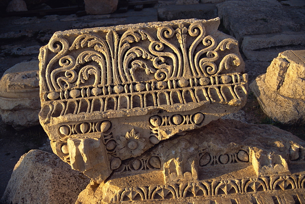 Fragment of well preserved carving, Baalbek, UNESCO World Heritage Site, Lebanon, Middle East - 574-275