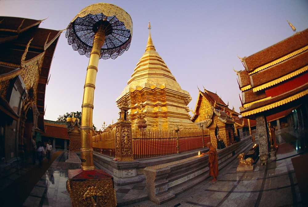 Buddhist temple of Doi Suthep at sunset, Chiang Mai, Chiang Mai Province, Thailand, Asia