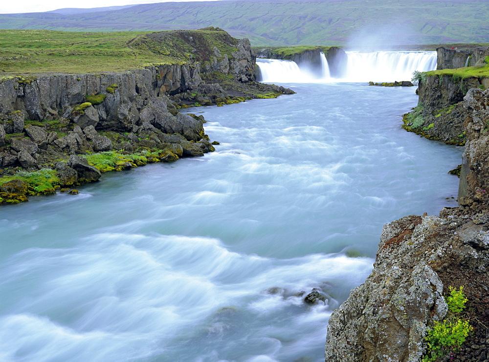 Godafoss or Fall of the Gods, horseshoe falls on the 175m long glacial Skjalfandafljot River in a 7000 year old lava field, Godafoss, Iceland