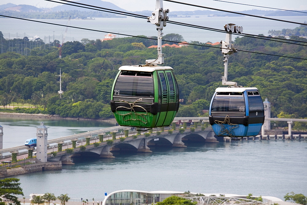 View of Sentosa Island cable car and road bridge across Keppel Channel from Mount Faber Jewel Box station, Central Region, Singapore, Southeast Asia, Asia - 586-1458