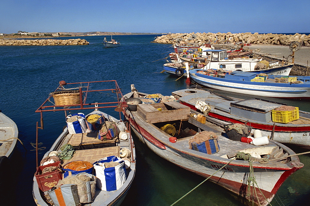 Fishing boats in the tiny harbour at Bogaz, north Cyprus, Cyprus, Mediterranean, Europe - 59-2578