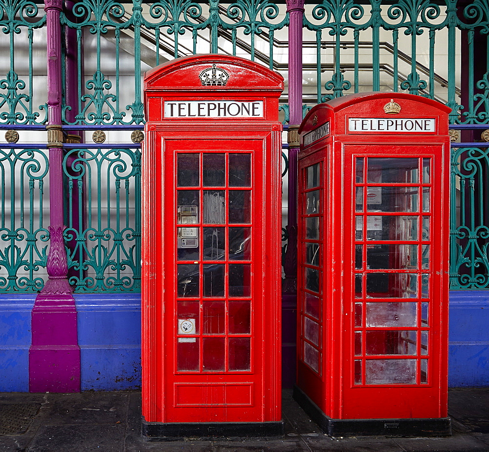 London red phone boxes, Smithfield Market, London, England, United Kingdom, Europe - 627-1259