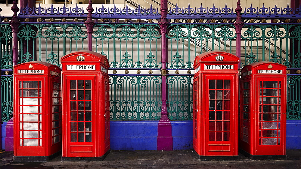 London red phone boxes, Smithfield Market, London, England, United Kingdom, Europe - 627-1260