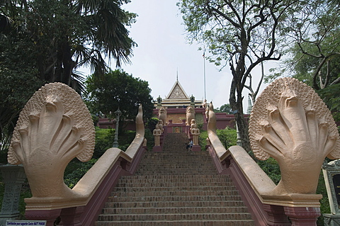 Nagas on the stairs to Wat Phnom, Phnom Penh, Cambodia, Indochina, Southeast Asia, Asia