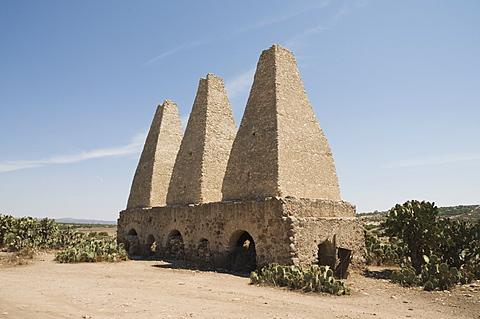 Old kilns for processing mercury, Mineral de Pozos (Pozos), a UNESCO World Heritage Site, Guanajuato State, Mexico, North America
