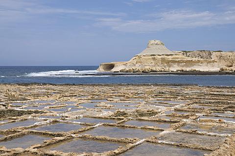 Salt pans at Qbajjar, near Marsalforn, Gozo, Malta, Mediterranean, Europe