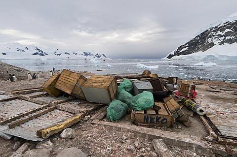 Remains of Argentine hut destroyed by severe wind, Neko Harbour, Antarctic Peninsula, Antarctica, Polar Regions