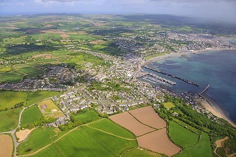 Aerial shot of Newlyn Fishing harbour near Penzance, Cornwall, England, United Kingdom, Europe
