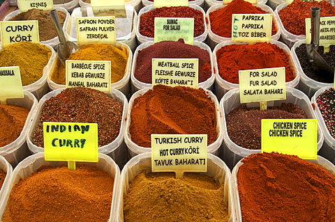 Spices on stall in the market in Kalkan, Anatolia, Turkey, Asia Minor, Eurasia - 641-12701