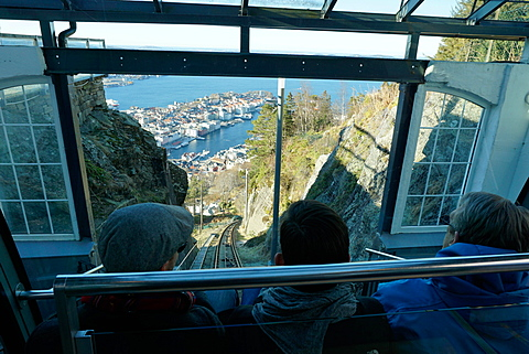 Floibanen funicular railway with view of Bergen from Mount Floyen, Bergen, Hordaland, Norway, Scandinavia, Europe
