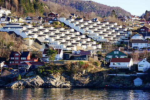 Fjord side housing development near Bergen, Hordaland, Norway, Scandinavia, Europe