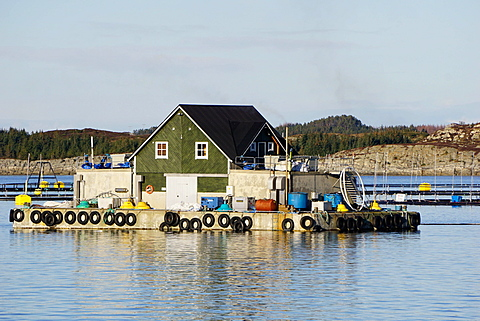 Fish farm with floating house, Aversund Fjord, near Bergen, Hordaland, Norway, Scandinavia, Europe