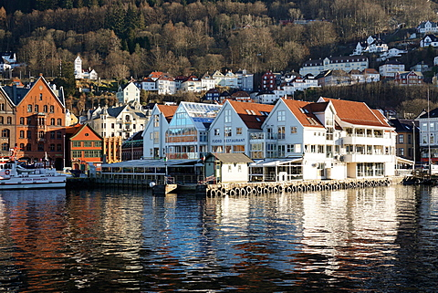 View on the harbour In Bryygen district, Bergen, Hordaland, Norway, Scandinavia, Europe - 641-13311