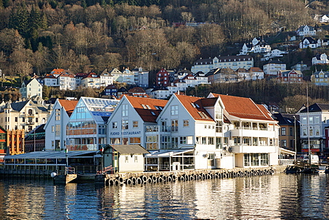 View on the harbour In Bryygen district, Bergen, Hordaland, Norway, Scandinavia, Europe