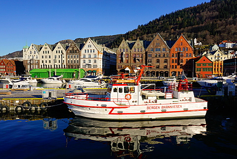 View on the harbour Bergen, Hordaland, Norway, Scandinavia, Europe