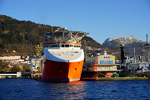 View on the harbour with oil industry support ship, Bergen, Hordaland, Norway, Scandinavia, Europe
