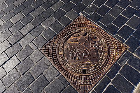 Decorative manhole cover, Bergen, Norway, Hordaland, Norway, Scandinavia, Europe - 641-13341