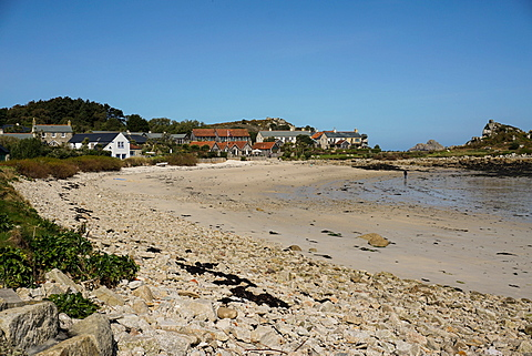 Beach at Old Grimsby with Ruin restaurant in background, Tresco, Isles of Scilly, England, United Kingdom, Europe