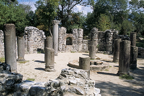 Archaeological site with fine mosaic floor covered up, Butrinti, Albania, Europe