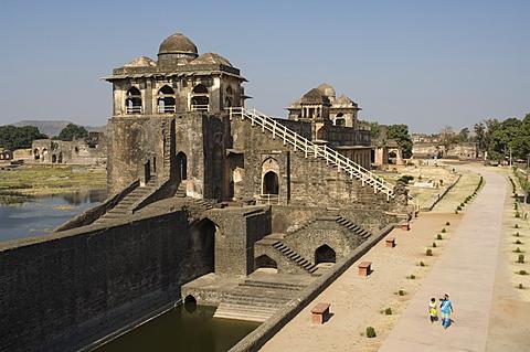 The Jahaz Mahal or Ships Palace in the Royal Enclave, Mandu, Madhya Pradesh, India